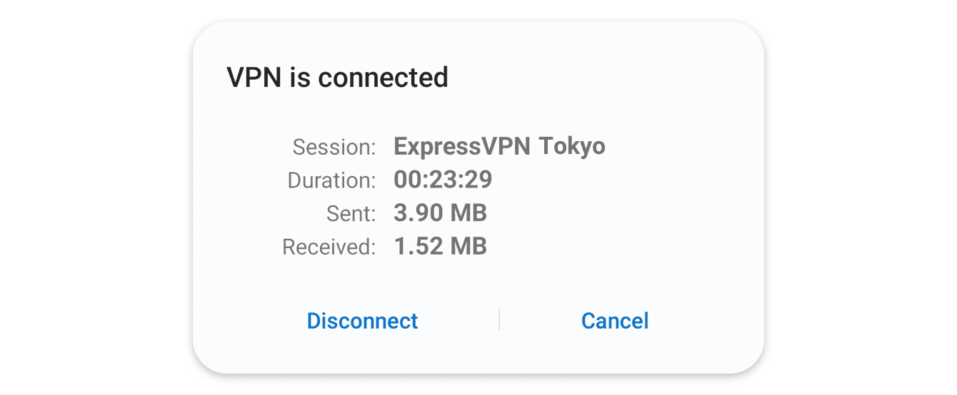A screen that shows that you have connected to ExpressVPN successfully.