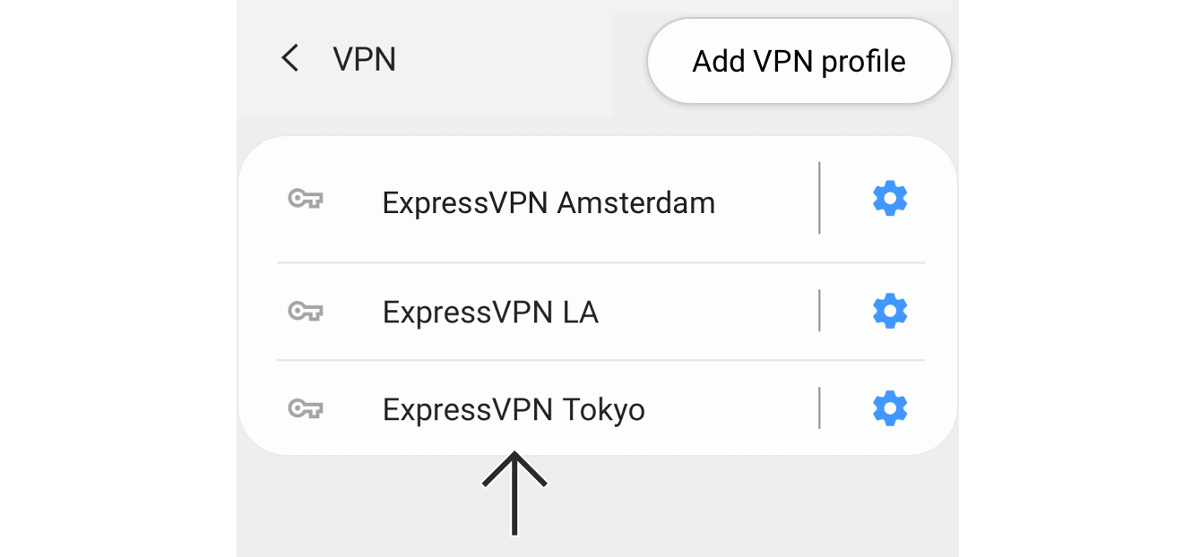 Tap the VPN profile you just created.