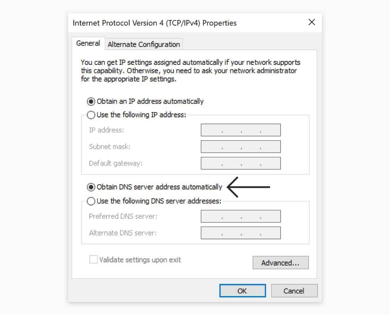 "Select ""Obtain DNS server address automatically."""