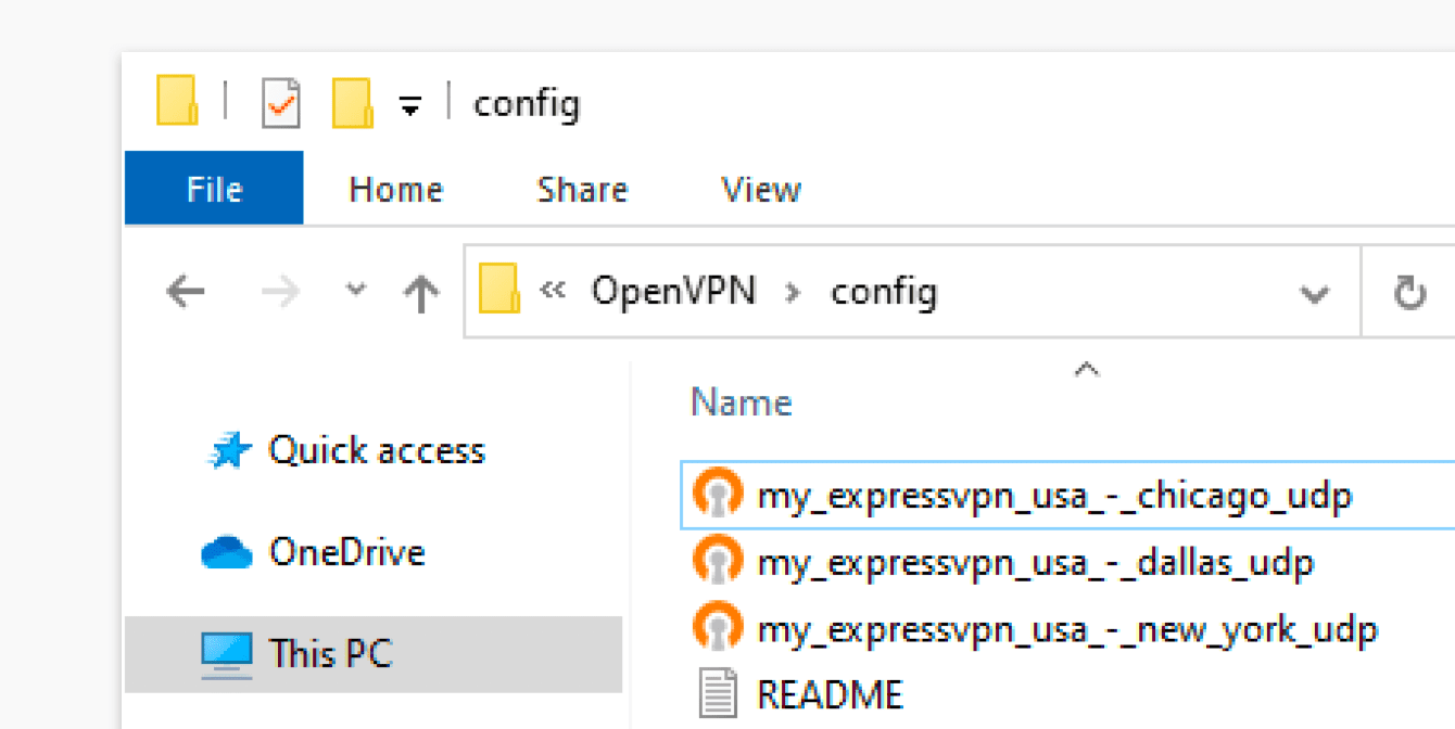 "Move the OpenVPN configuration files you obtained earlier into the ""config"" folder."