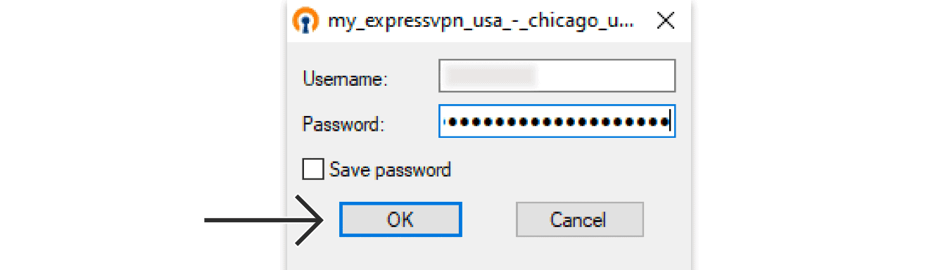 "Enter the ExpressVPN OpenVPN username and password, then click ""OK."""