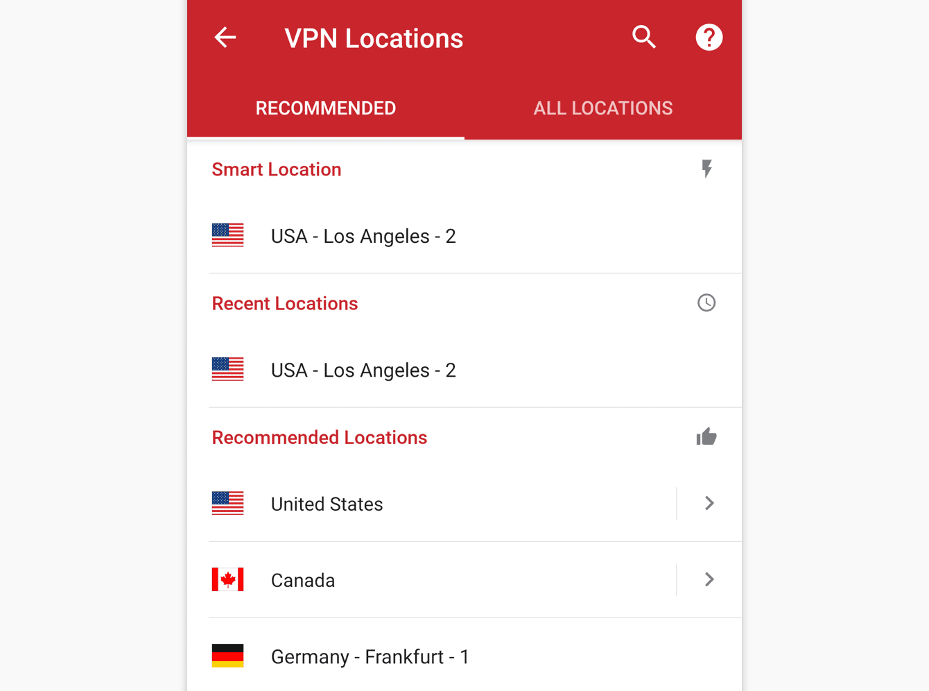 The Recommend tab shows you ExpressVPN's top picks for you.