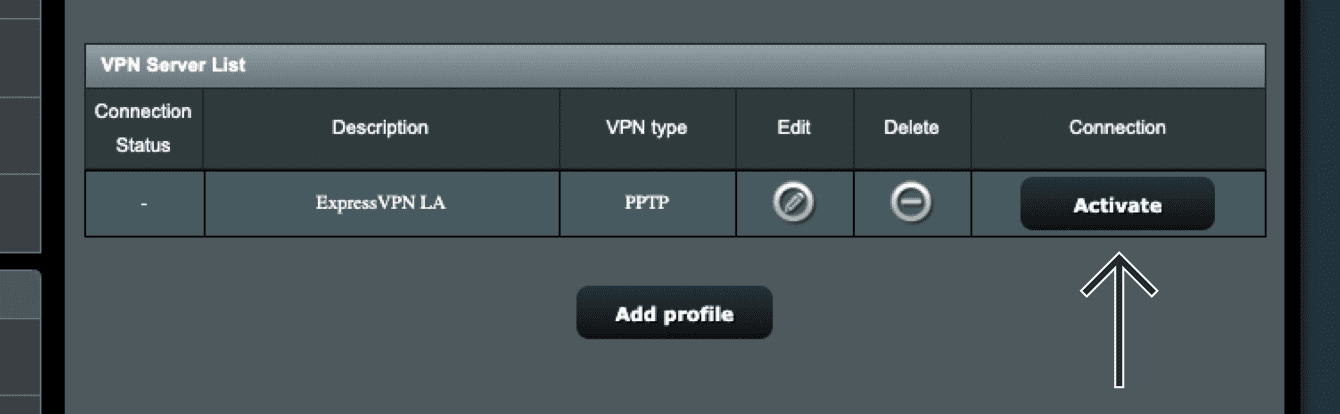 "Click ""Activate"" to start the VPN."