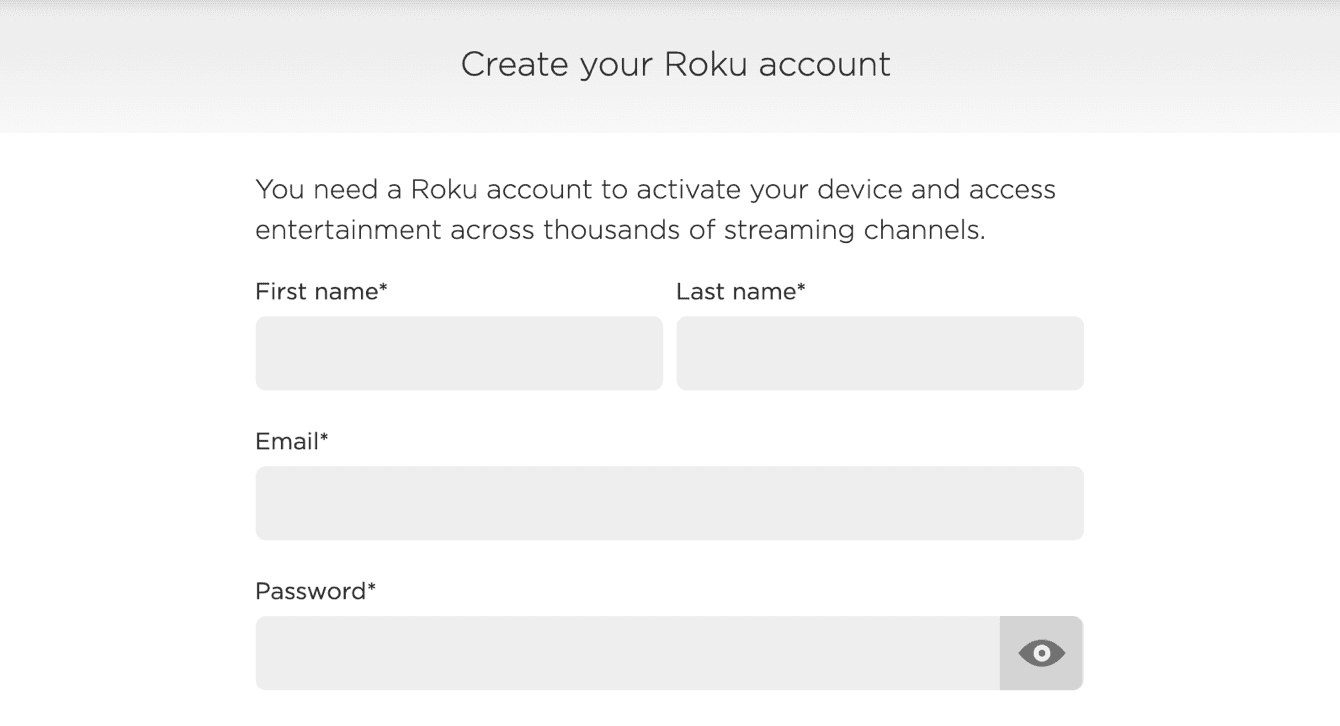 Create a Roku account.