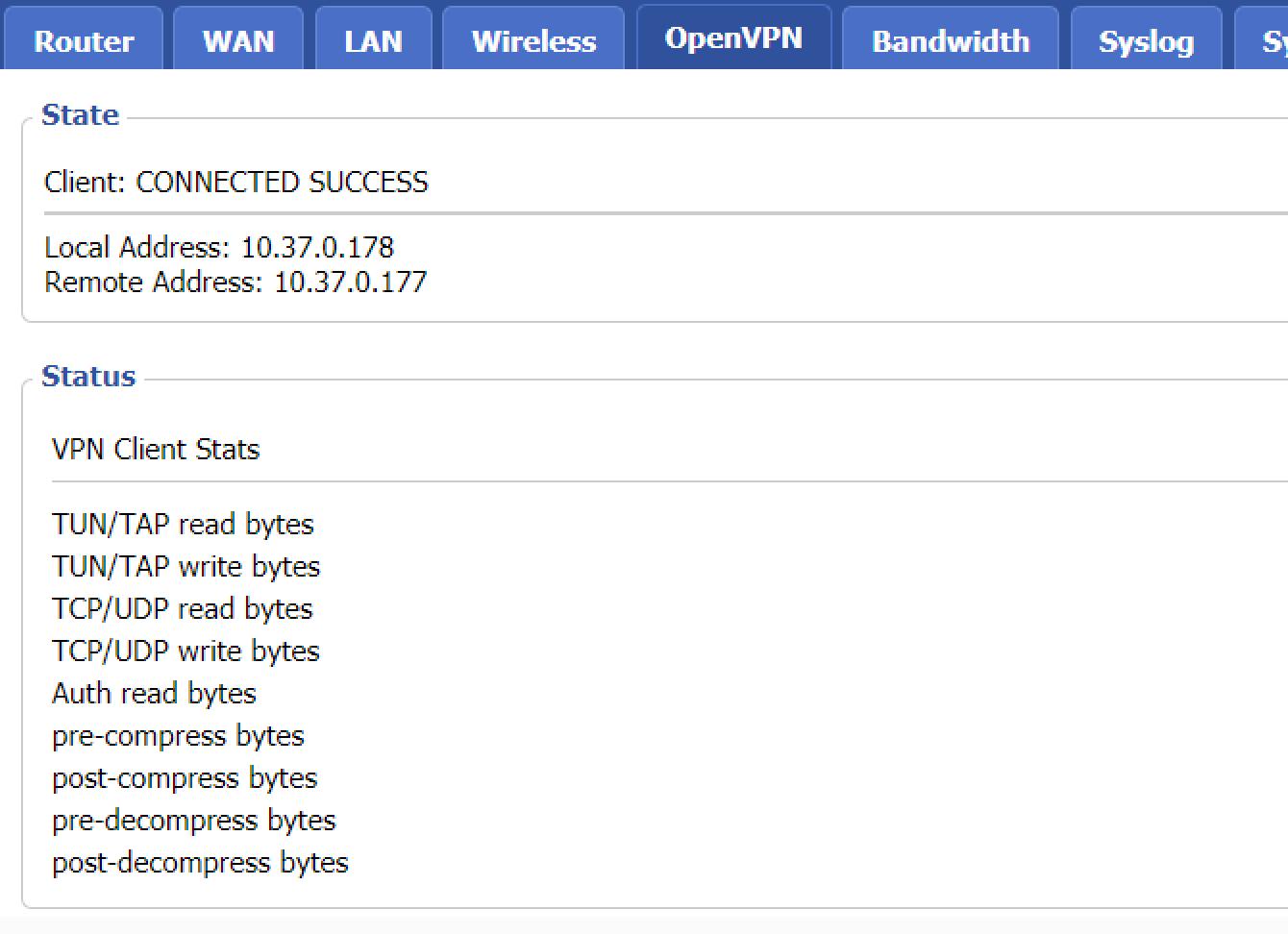 Votre connexion OpenVPN est réussie