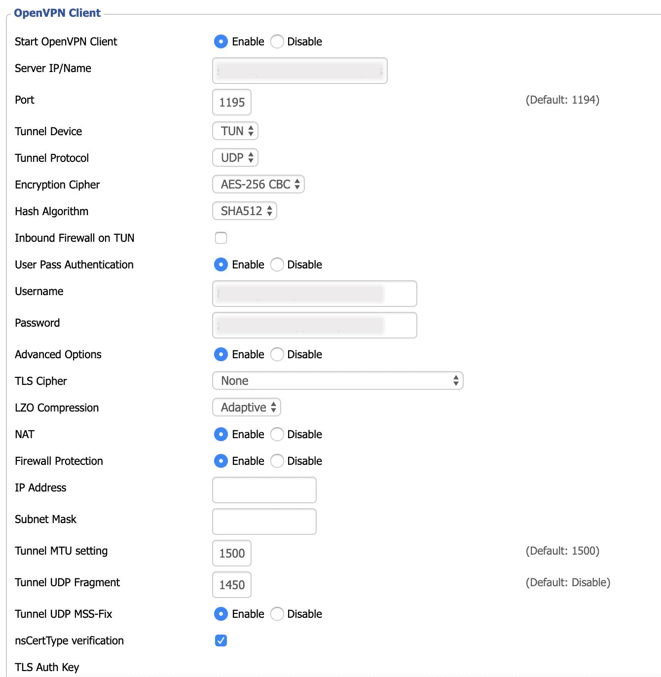 Entrez les détails pour configurer votre routeur avec OpenVPN.