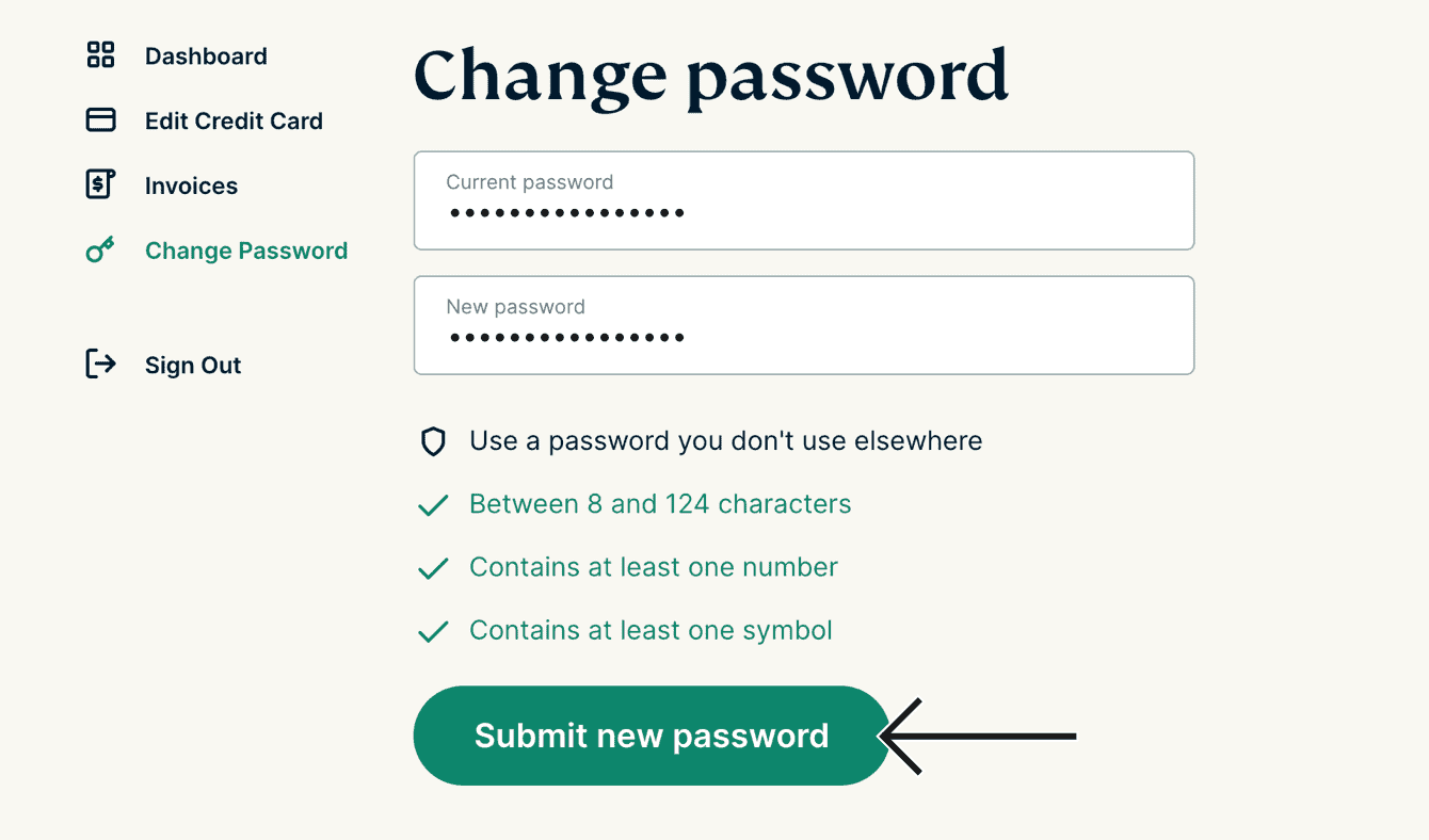 """Click """"Submit new password."""""""