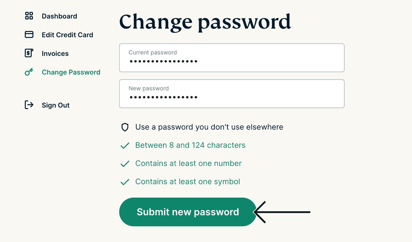 Klikk «Send inn nytt passord».