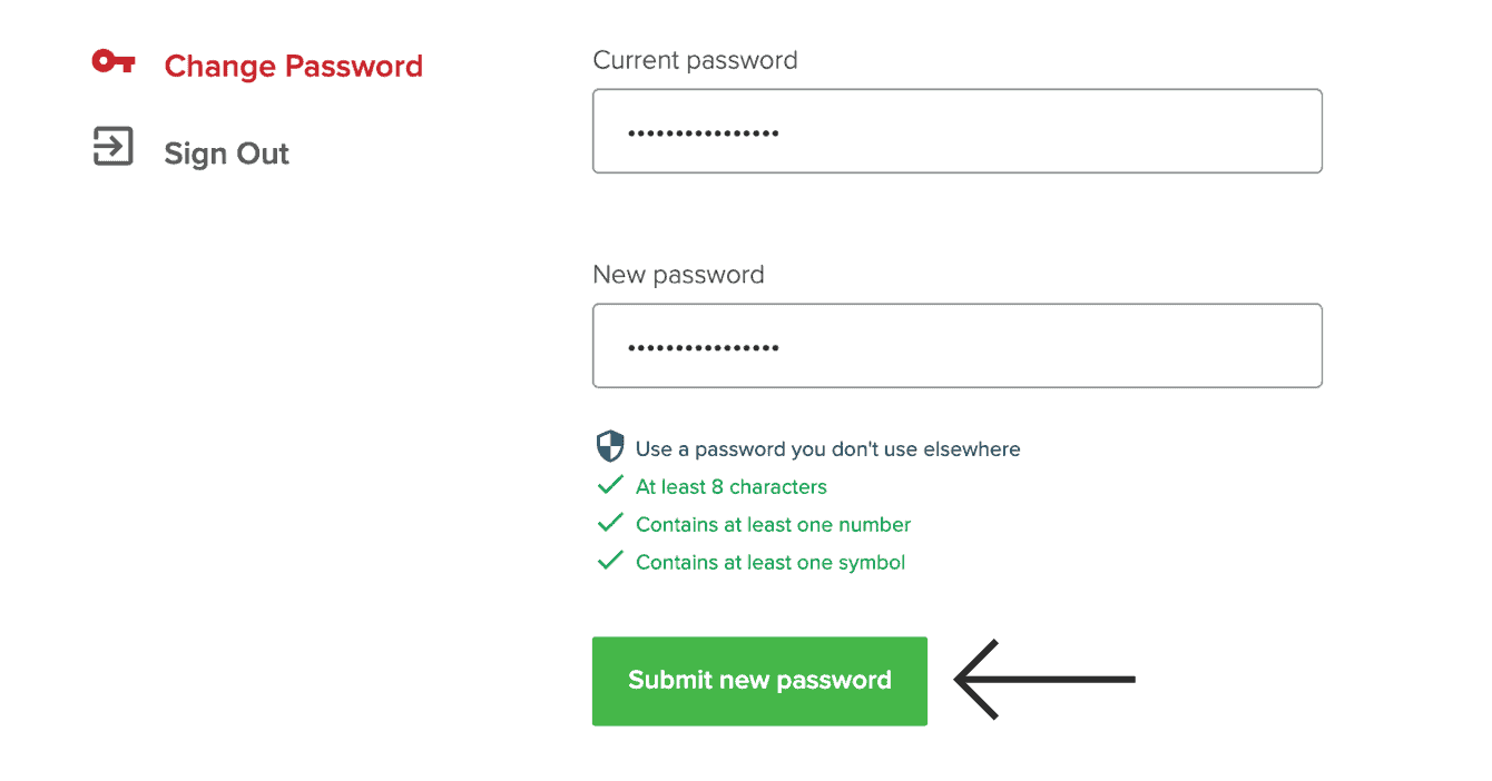 "Click ""Submit new password."""