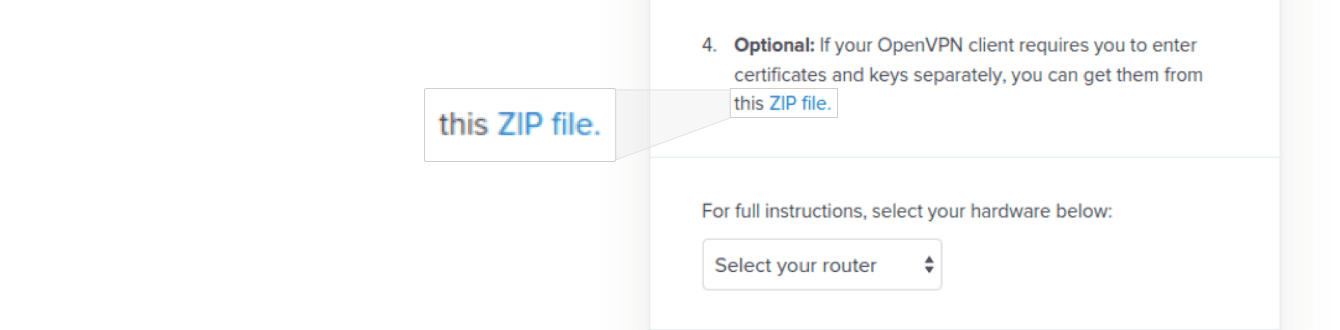 "Click ""ZIP file"" to download the VPN keys and certificates."