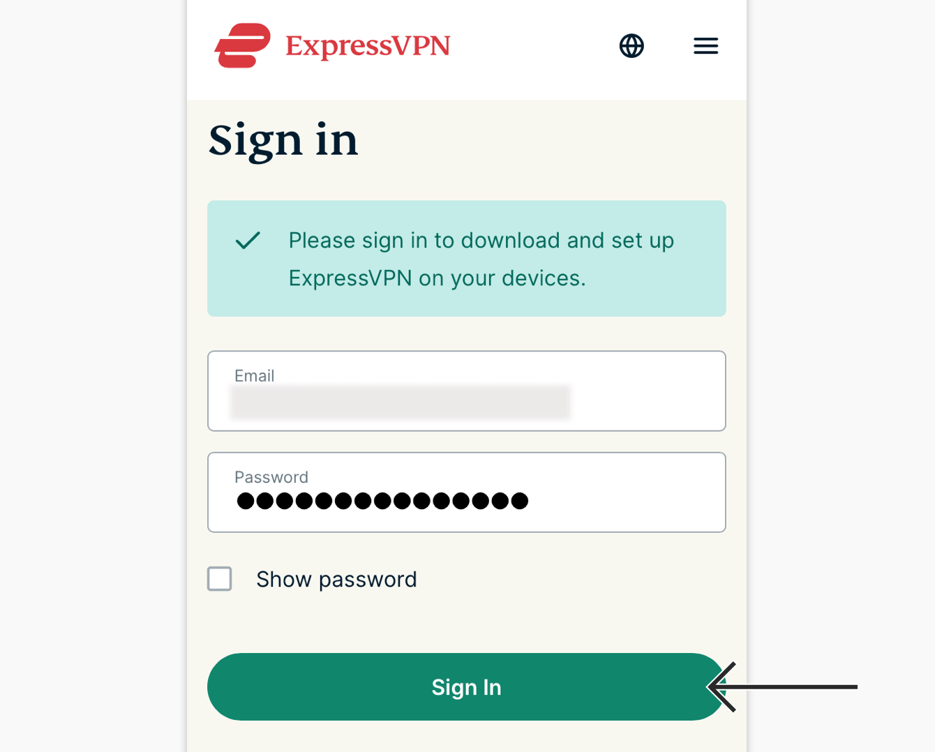 Skriv inn ditt brukernavn og passord for ExpressVPN, deretter trykk «Logg inn».
