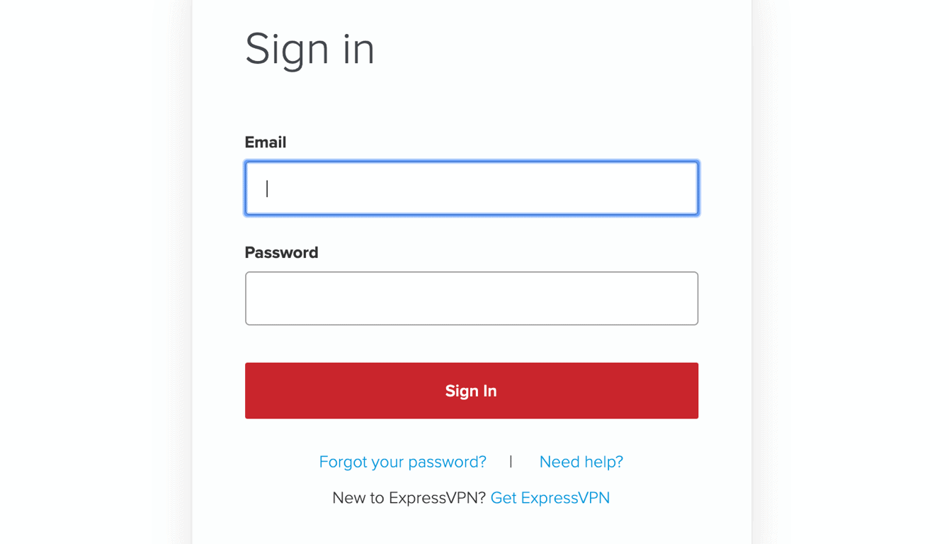 The ExpressVPN account sign in box.