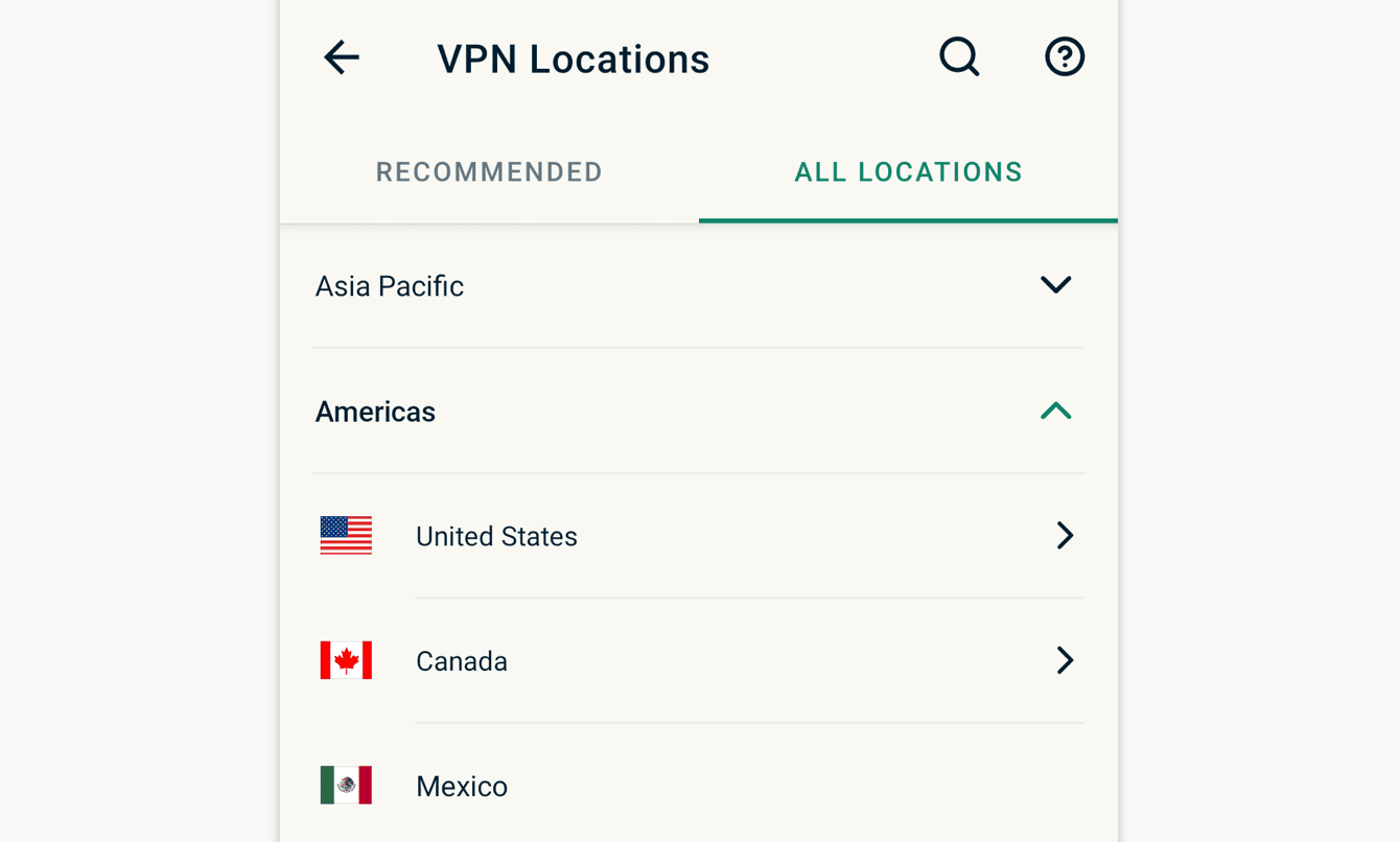 """The """"All locations"""" tab lists VPN server locations by region."""