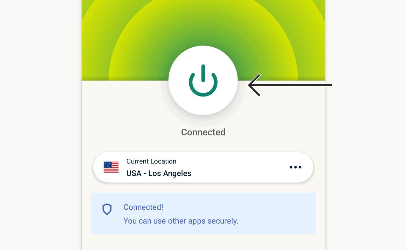 Trykk På-knappen for å koble fra.