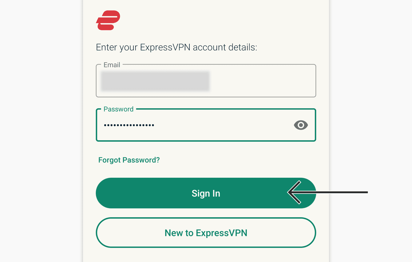 "Enter your ExpressVPN credentials, then tap ""Sign In."""