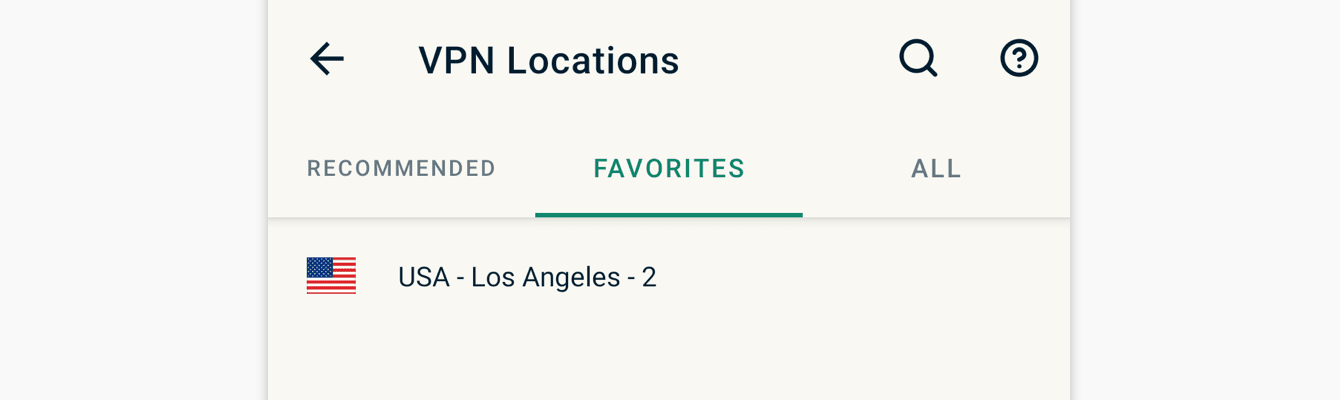 """You can access your favorite locations in the """"Favorites"""" tab."""