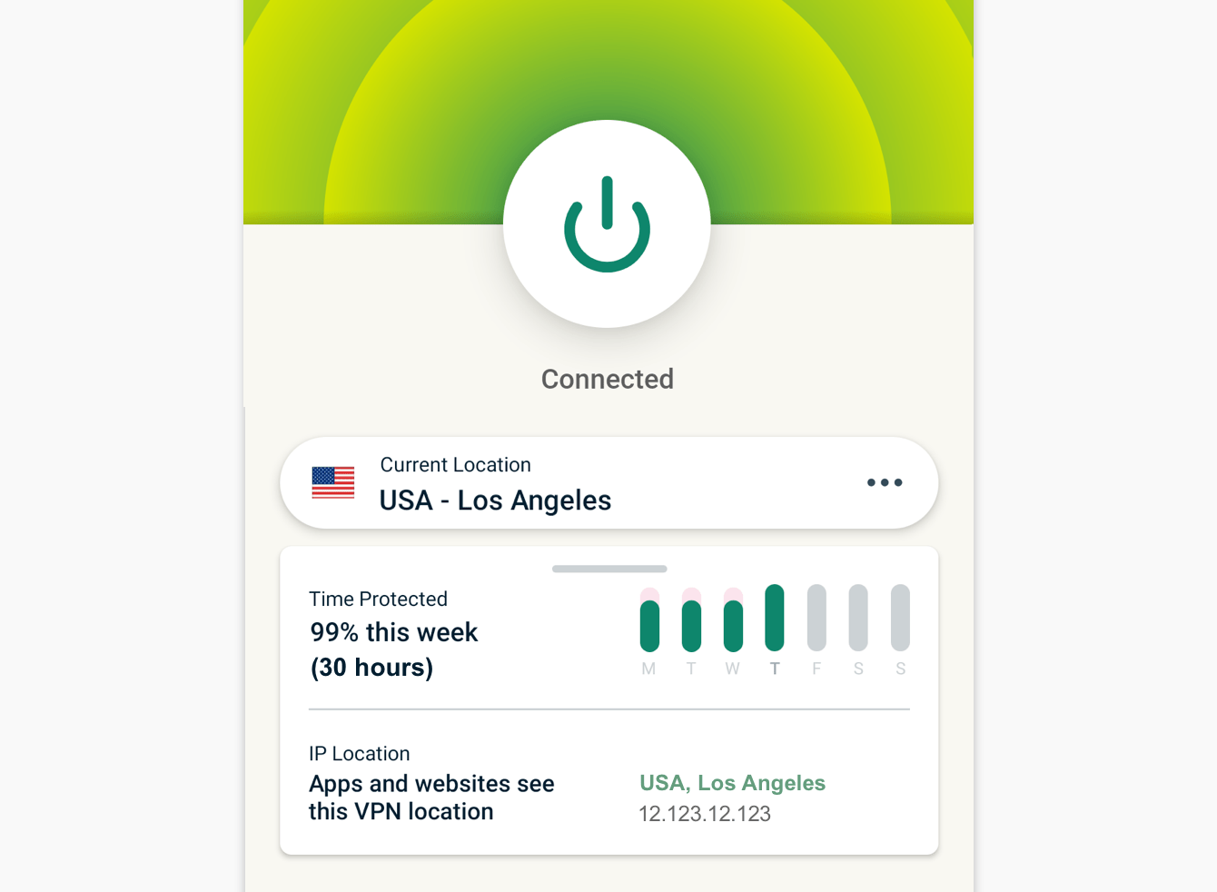 Protection Summary shows a weekly overview of how long you were connected to the VPN.