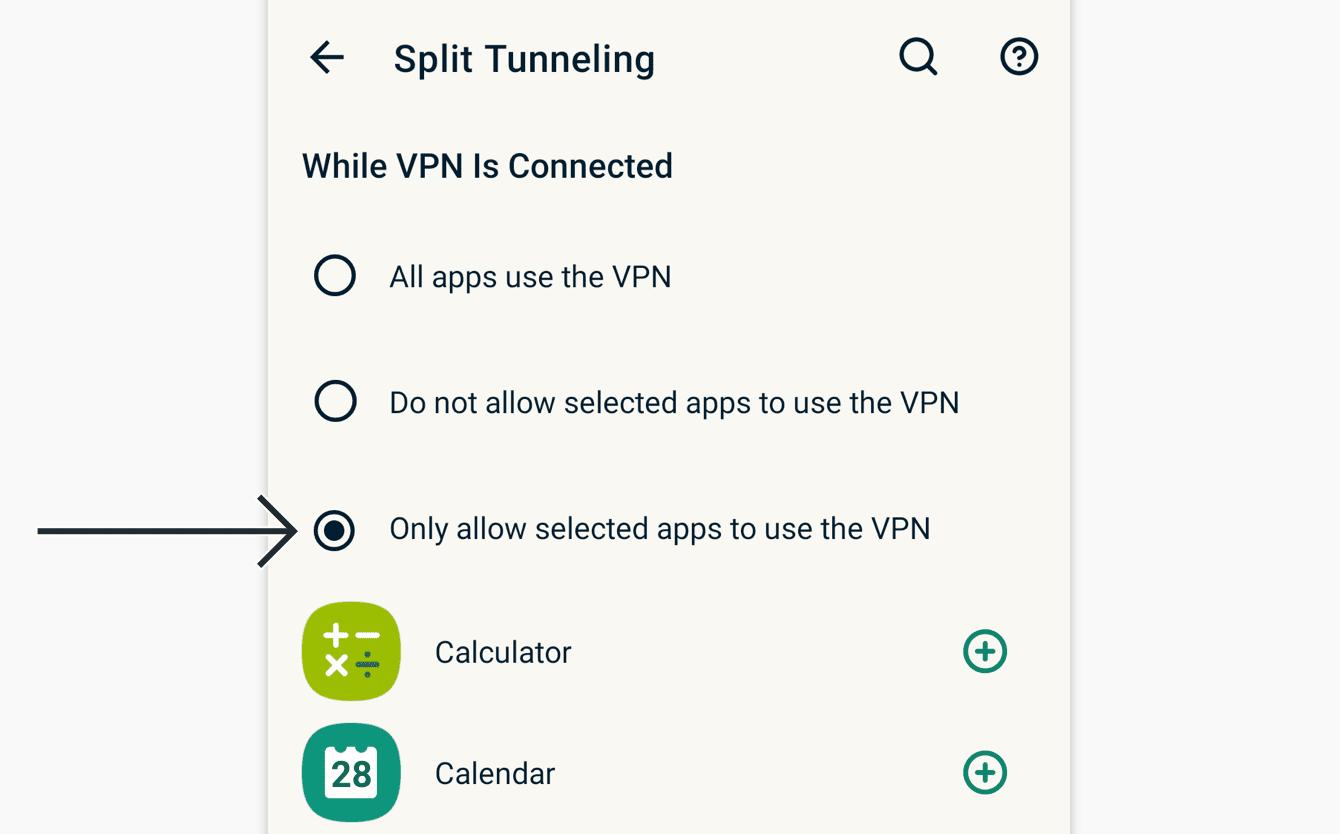 Velg «Bare tillat utvalgte apper å bruke VPN-et».