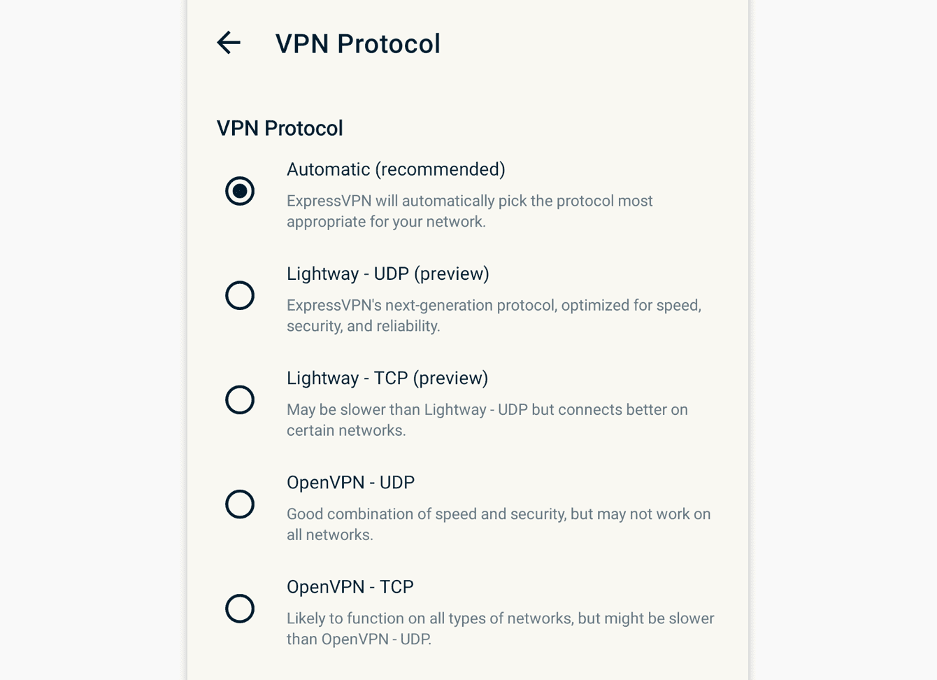Select the protocol you want to use.