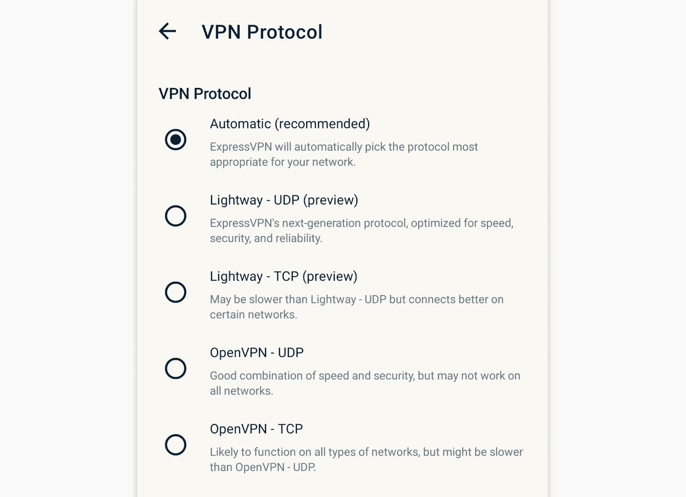 Velg den protokollen du ønsker å bruke.