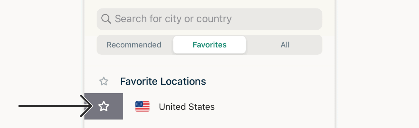 To remove a location from your favorites, swipe right on it again.