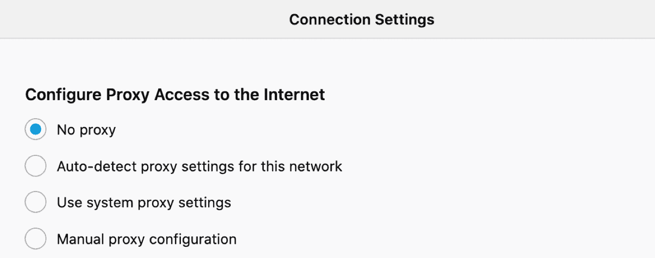 "Select either ""no proxy"" or ""Auto-detect proxy settings for this network."""