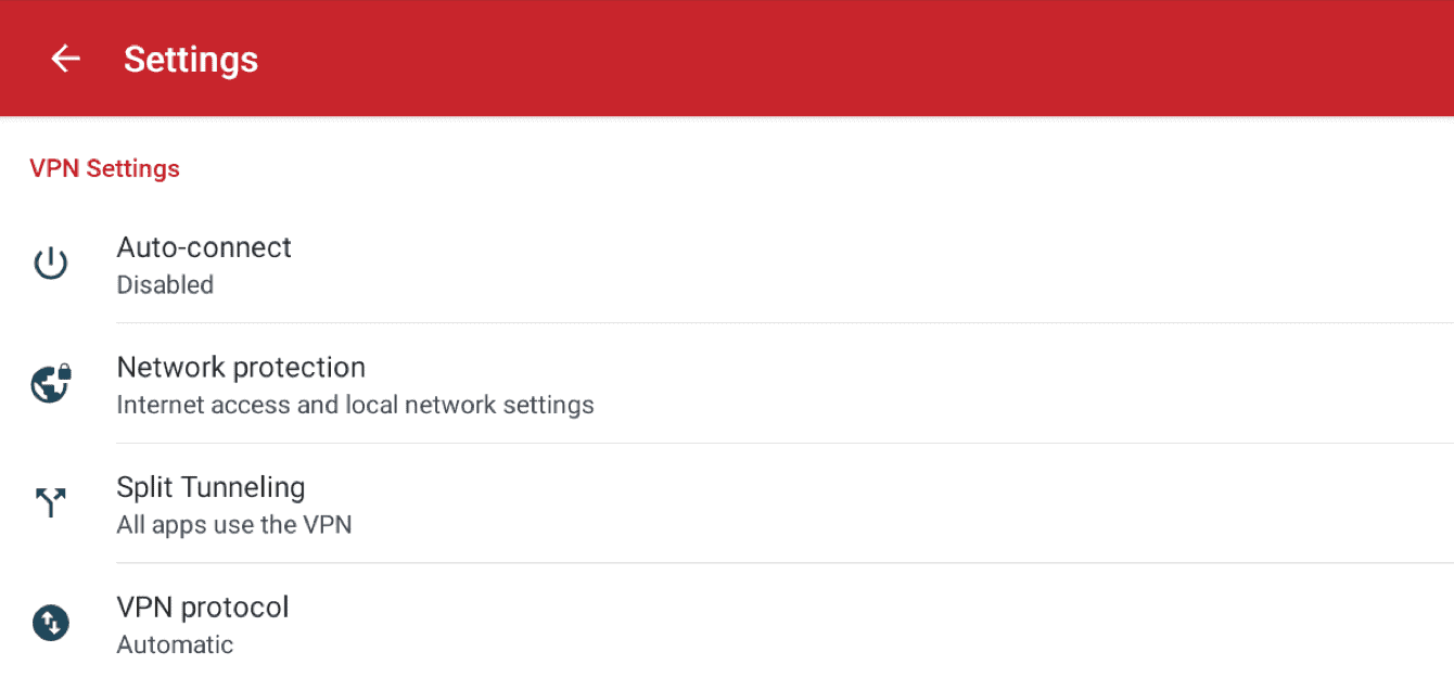 The ExpressVPN's app settings allow you to control a variety of features.