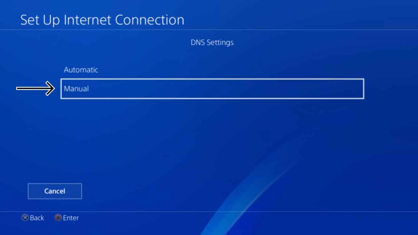 "Select ""Manual"" for DNS Settings."