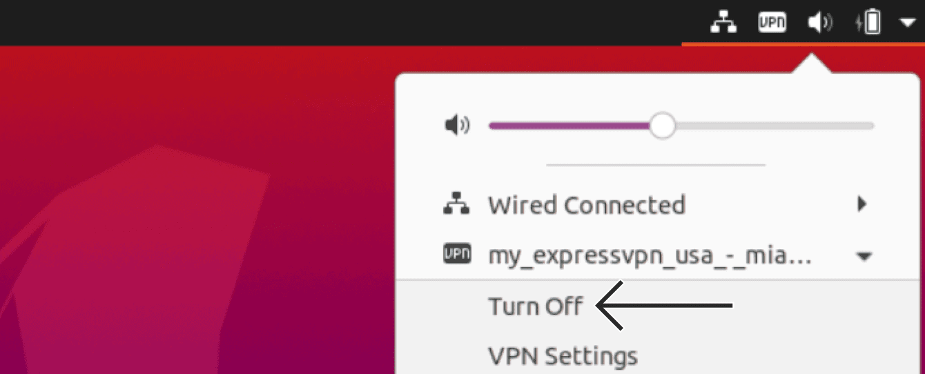 "Select the VPN profile, then click ""Turn off."""