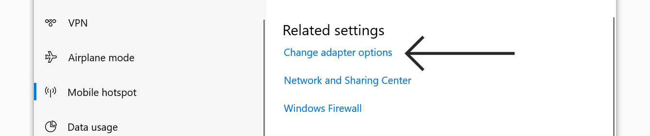 "Click ""Change adapter options."""