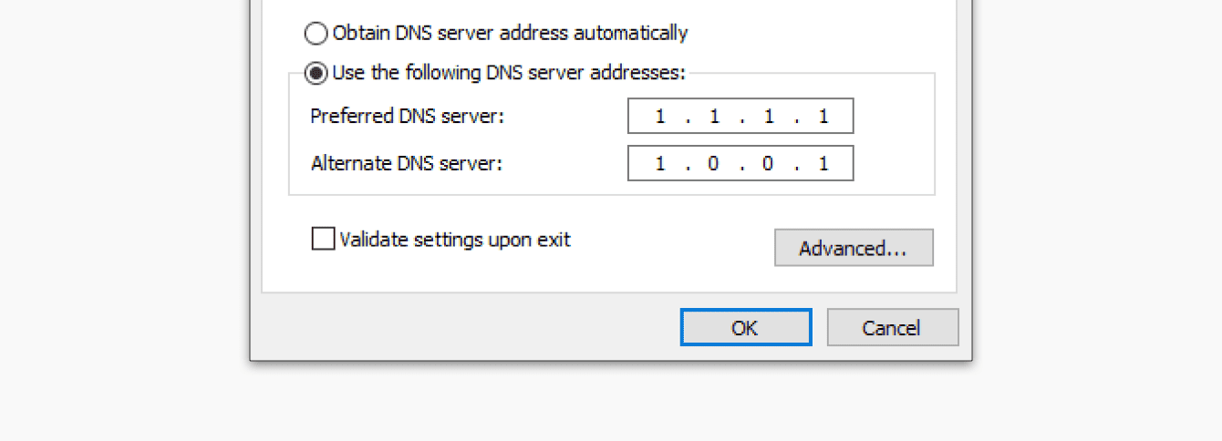 Enter the Cloudflare DNS addresses.