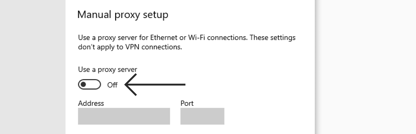 "Toggle ""Use a proxy server"" off."