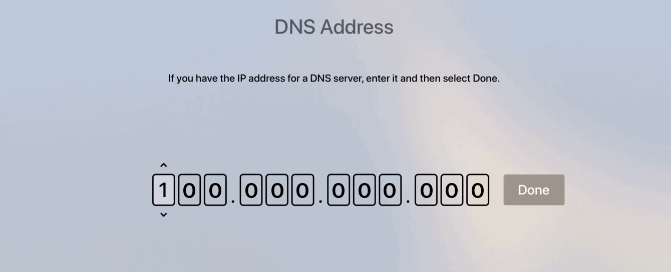 Enter the numbers of your MediaStreamer DNS IP address.