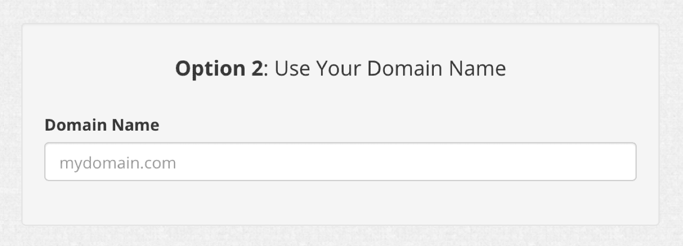 Enter your domain name in Option 2.