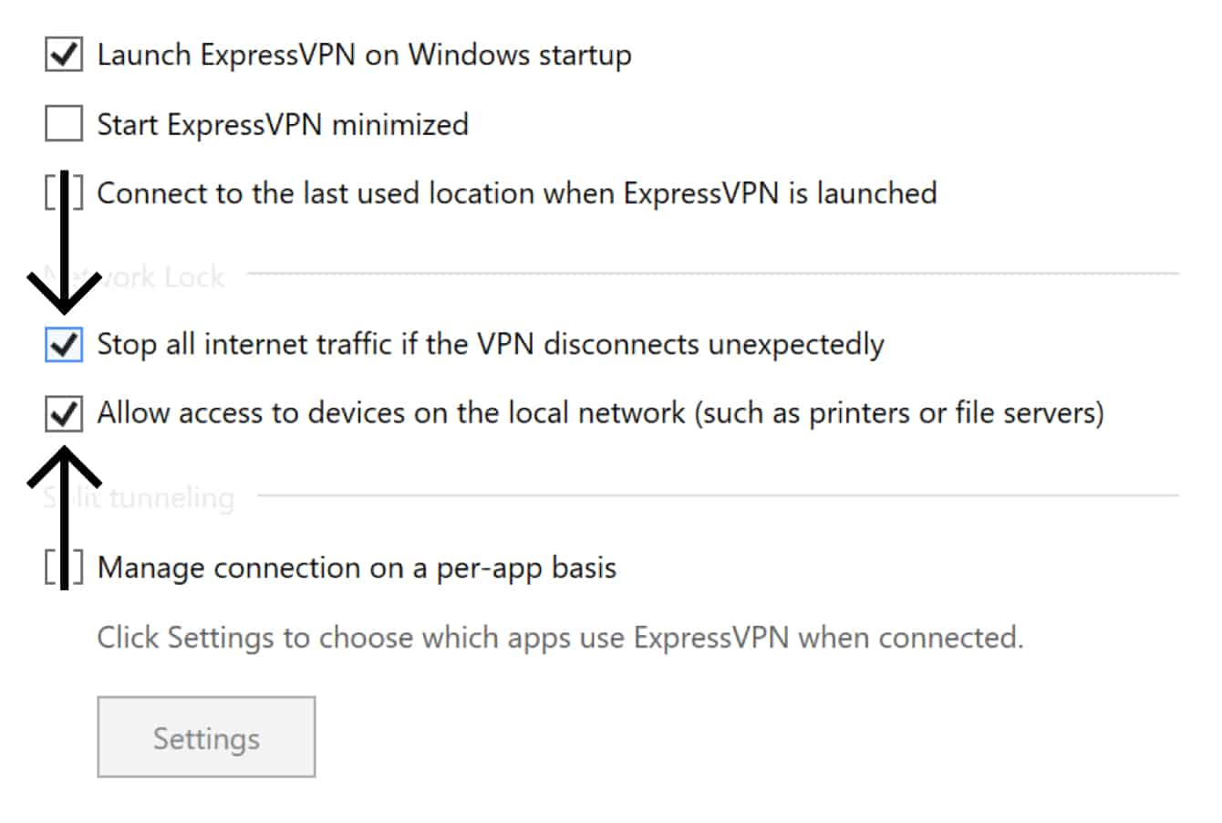 """Check the boxes for """"Stop all internet traffic if the VPN disconnects unexpectedly"""" and """"Allow access to devices on the local network (such as printers or file servers)."""""""