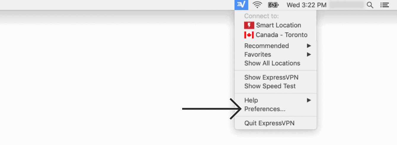 "Click the ExpressVPN Menu Bar icon and then ""Preferences."""