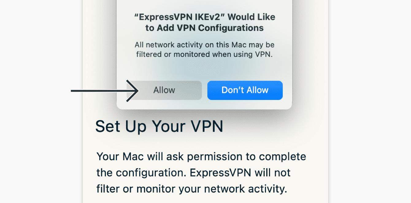 """Als gevraagd wordt om VPN configuraties in te voeren, klik op """"Toestaan."""""""