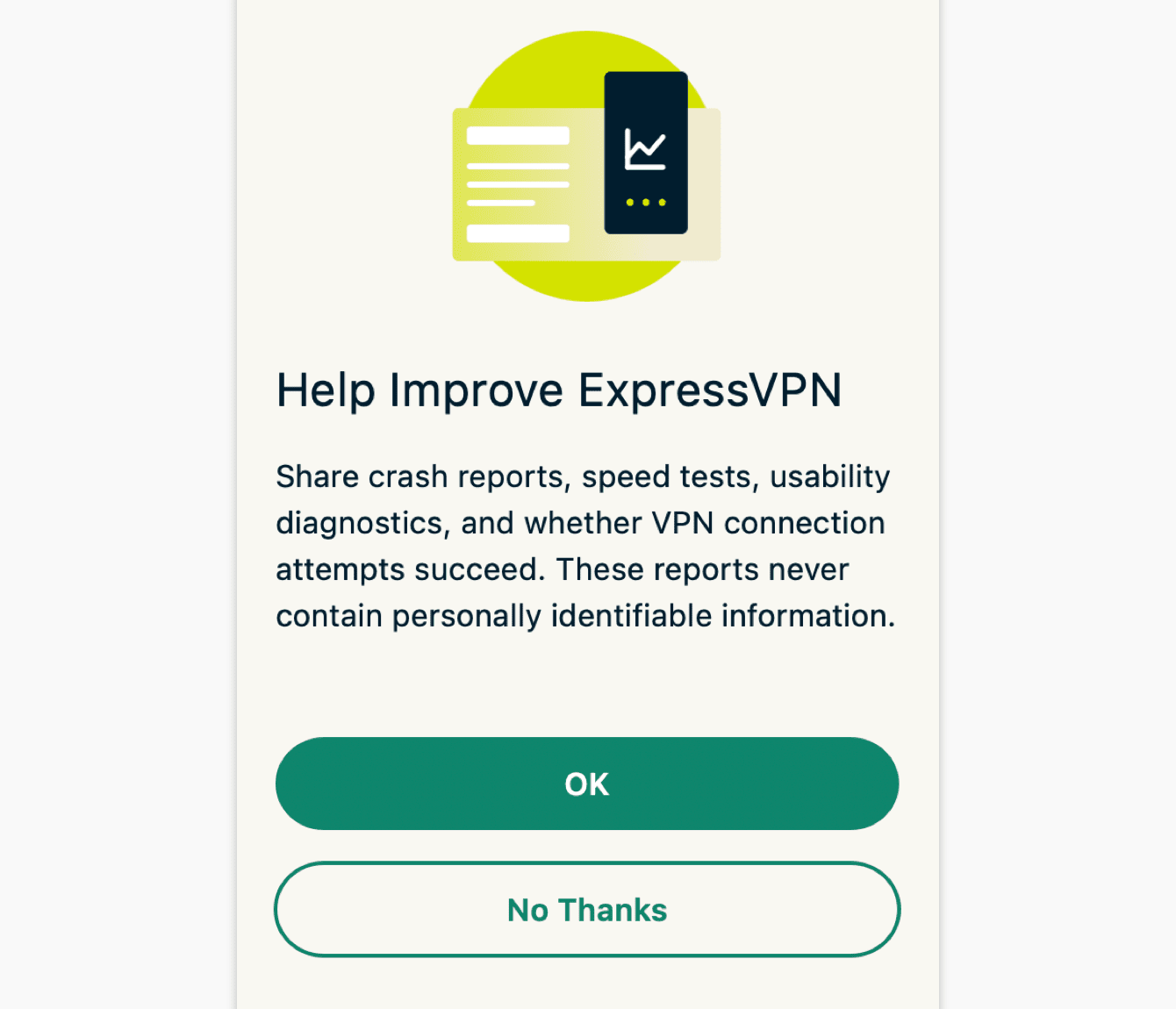 Select your preference for helping improve ExpressVPN.