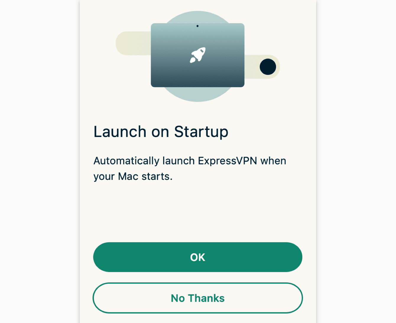 Select your preference for launching ExpressVPN when your computer starts.