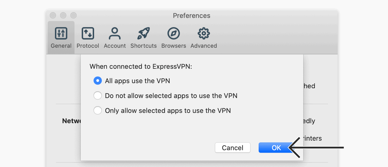 "Select ""All apps use the VPN,"" then click ""OK."""