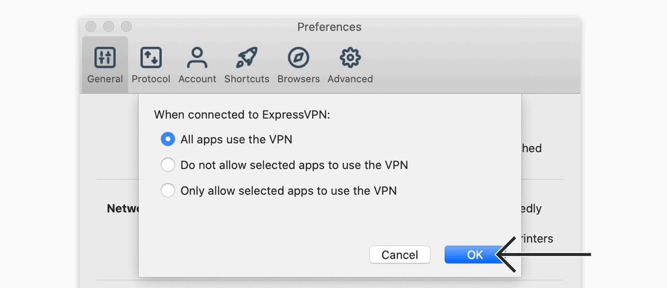 """Selecteer """"Alle apps gebruiken de VPN,"""" klik vervolgens op """"OK."""""""