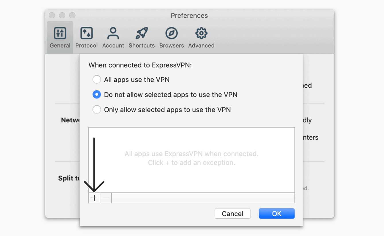 """Select """"Do not allow selected apps to use the VPN,"""" then click the """"plus sign."""""""