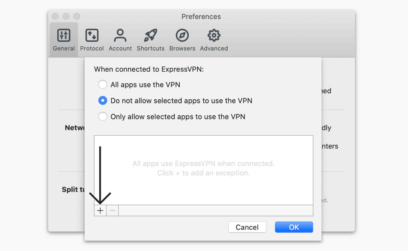"""Selecteer """"De geselecteerde apps niet toestaan de VPN te gebruiken,"""" klik vervolgens op het """"plustekentje."""""""