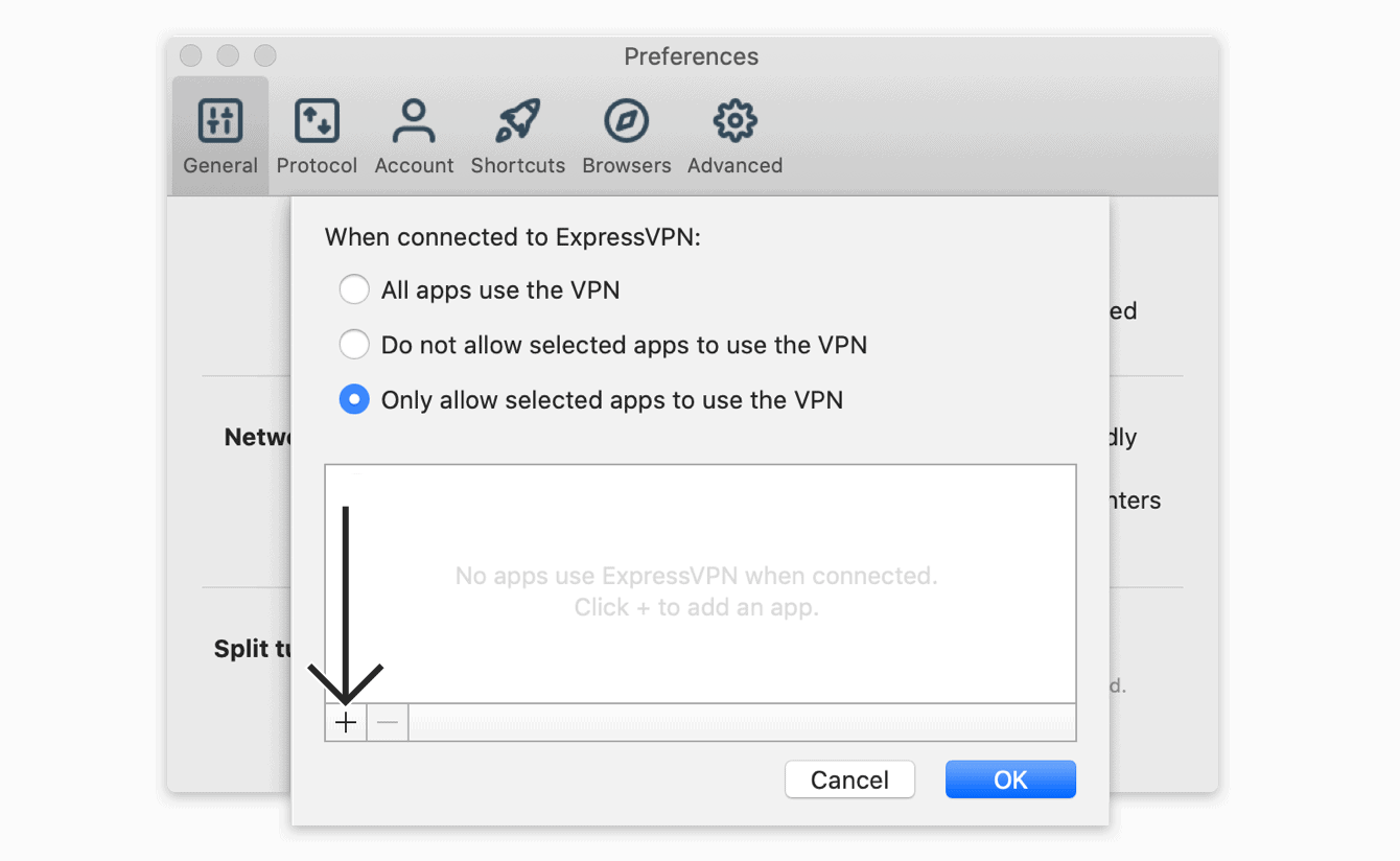 """Select """"Only allow selected apps to use the VPN,"""" then click the """"plus sign."""""""