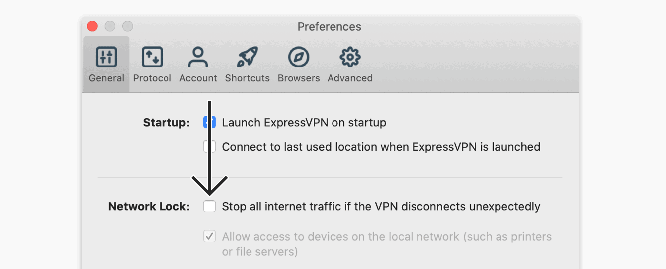 "Uncheck ""Stop all internet traffic if the VPN disconnects unexpectedly."""