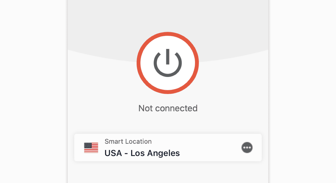 "The ""Not connected"" message on the ExpressVPN app."