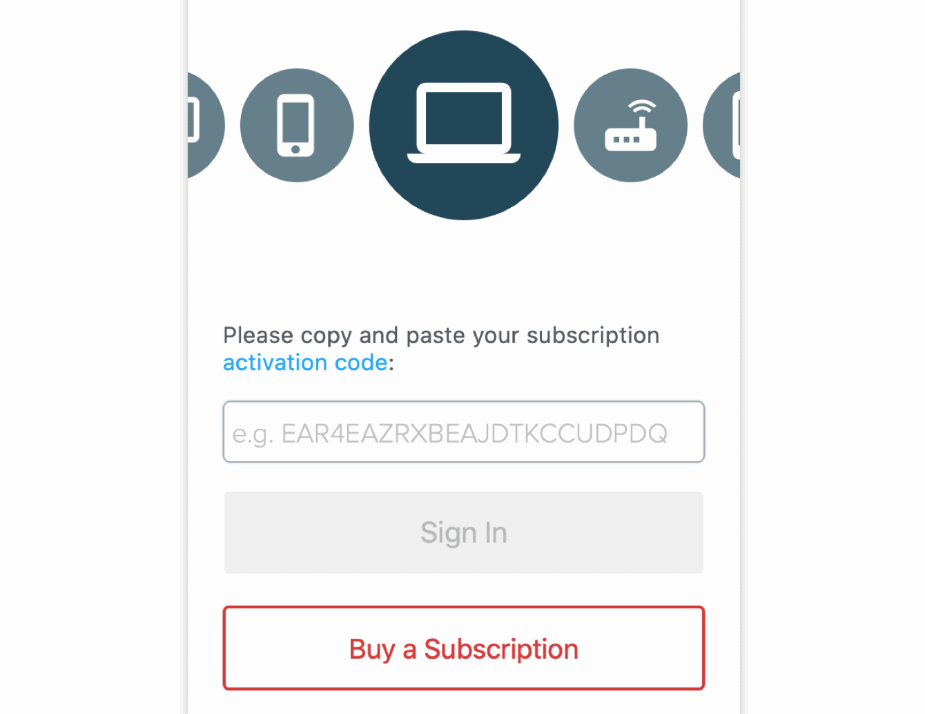 Paste your activation code to sign in.