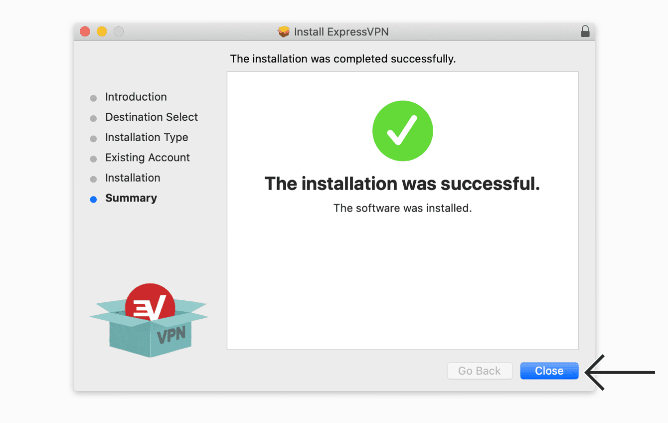 "Click ""Close"" to complete your installation."