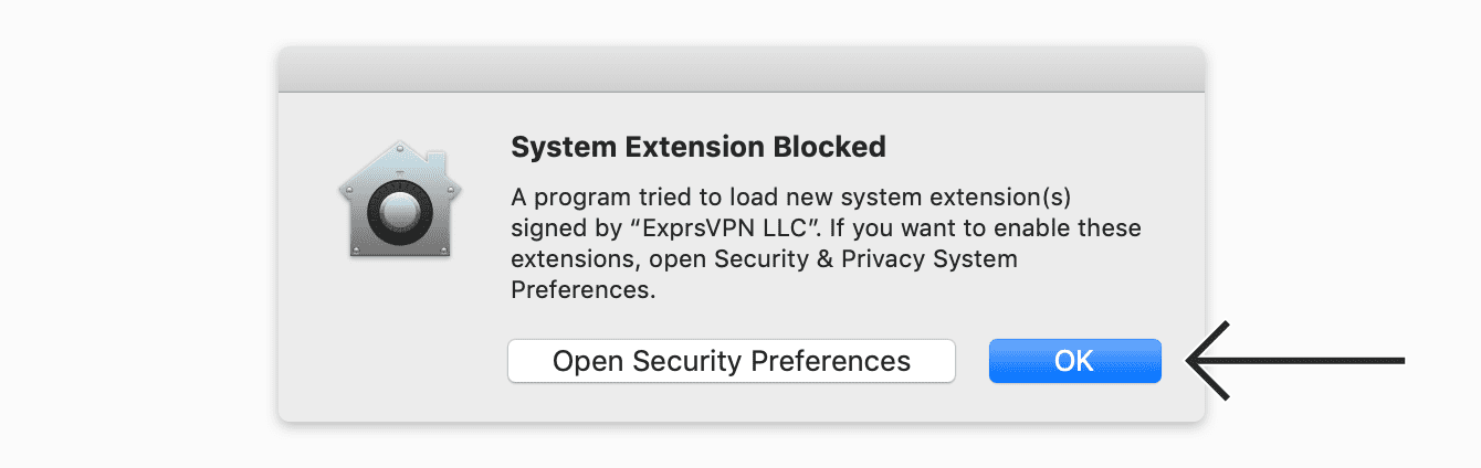 "Click ""OK"" to enable system extensions."