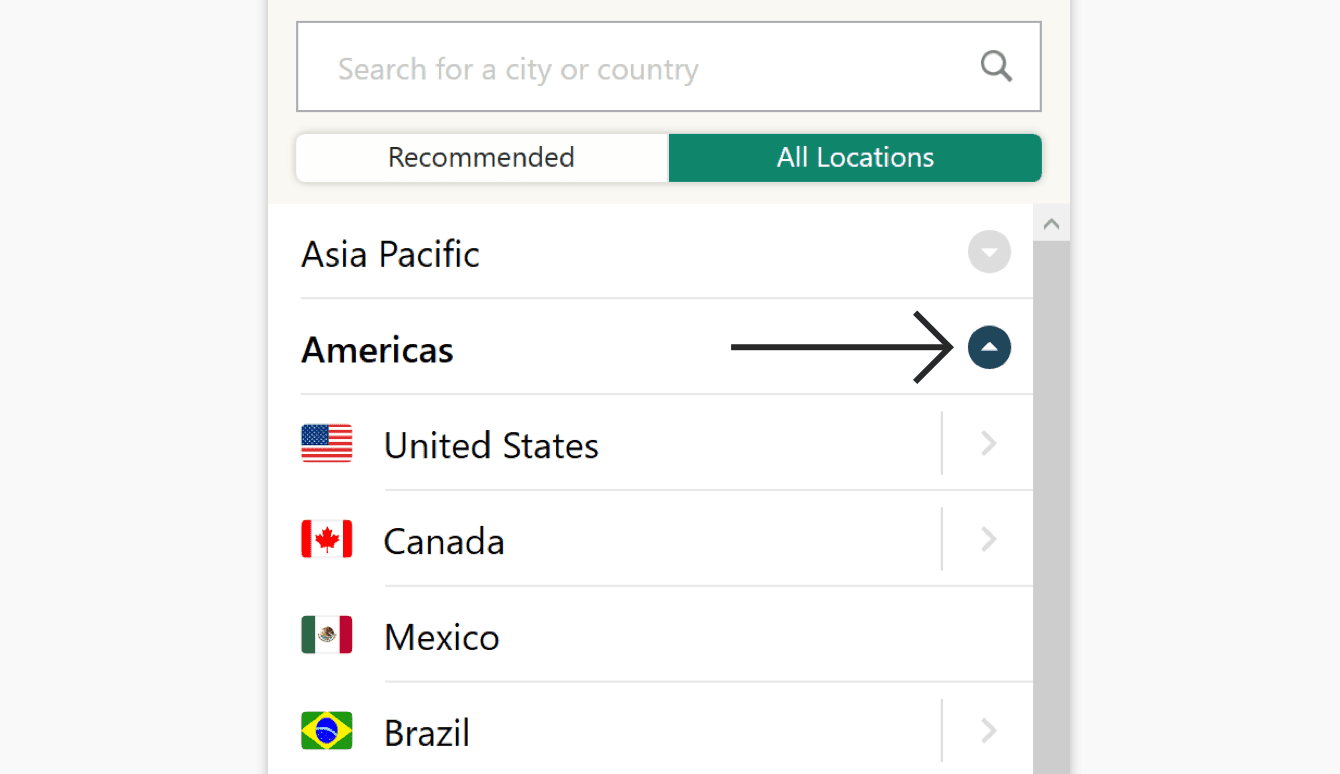 "The ""All locations"" tab lists VPN server locations by region."